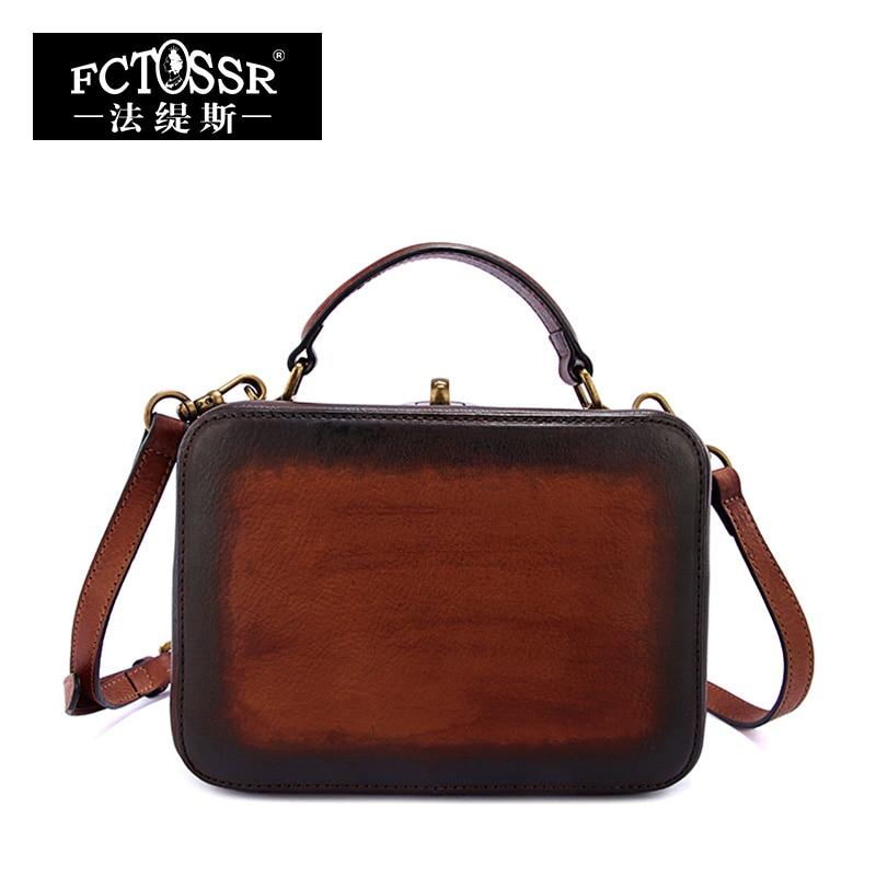 2018 Vintage Handmade Genuine Leather Top Handle Bags Cow Leather Shoulder Box Bag Women Handbag handmade rattan weaving craft top handle genuine leather bags women