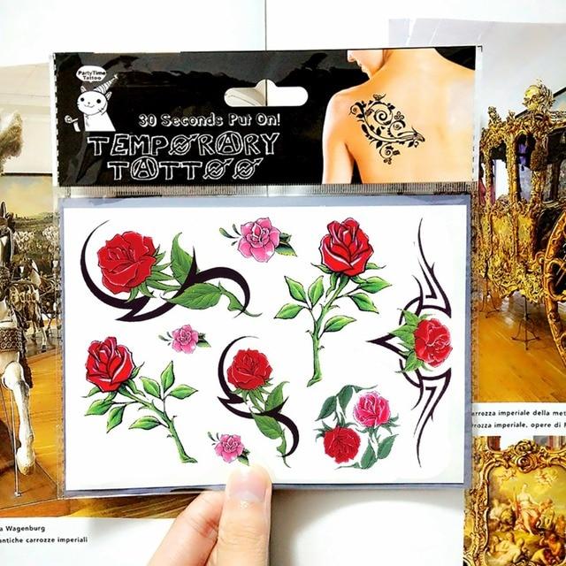 Romantic Small Red Roses Temporary Body Art Flash Tattoo Sticker 17x10cm Waterproof Painless Henna Selfie Tatoo Tattoo Stickers