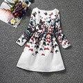La moda de nueva llegada de manga larga de algodón estampado floral muchachas de la caída de ropa de 8 años vestidos niÑas invierno