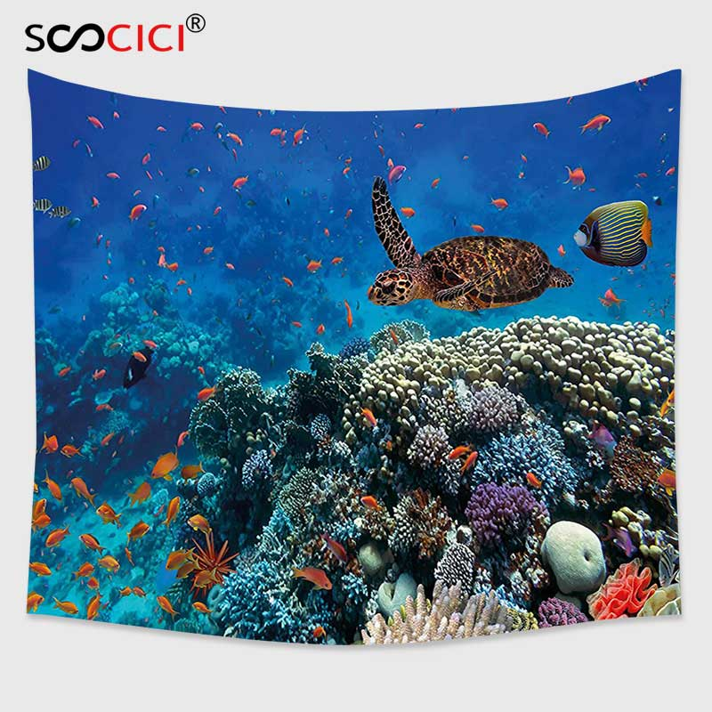 Cutom Tapestry Wall Hanging,Ocean Decor Exotic Fish and Turtle in Fresh Water on Stony Corals Bio Diversity Wild Life Photo