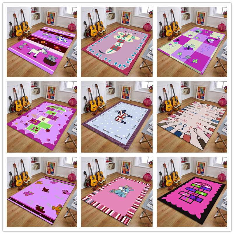 Tapis de jeu pour enfants série rose brillant pour bébé 200*300 cm Tapis de ramper pour bébé Tapis de jeu pour enfants Tapis lavables à la Machine Tapis