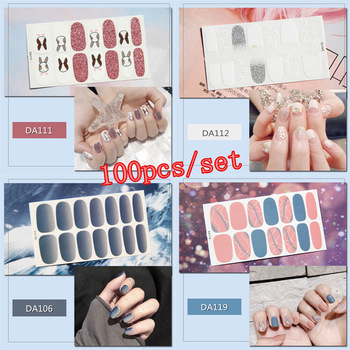 100pcs/set Full Covered Adhesive Nail Stickers 20 Designs Decal Patch Wraps DIY Nail Art Decorations Manicure Beauty Accessory