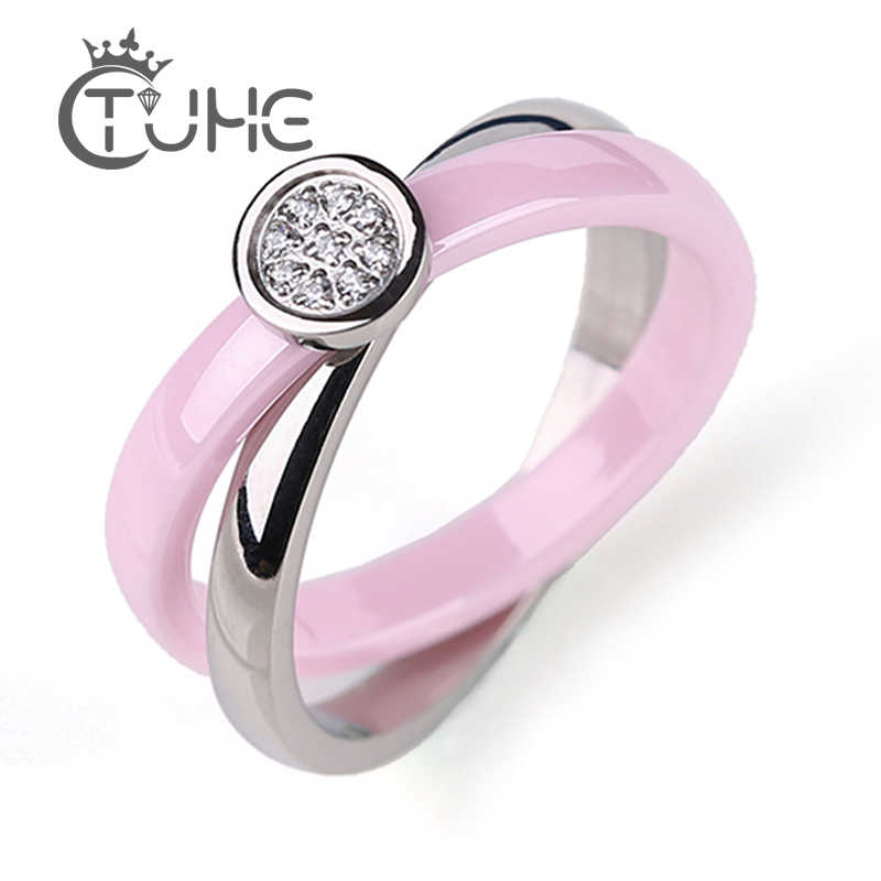 مزدوجة عبر دائرة خواتم سيراميك الكلاسيكية الوردي الأبيض صحي خواتم سيراميك الفضة الفولاذ المقاوم للصدأ حلقة للنساء مجوهرات الأزياء