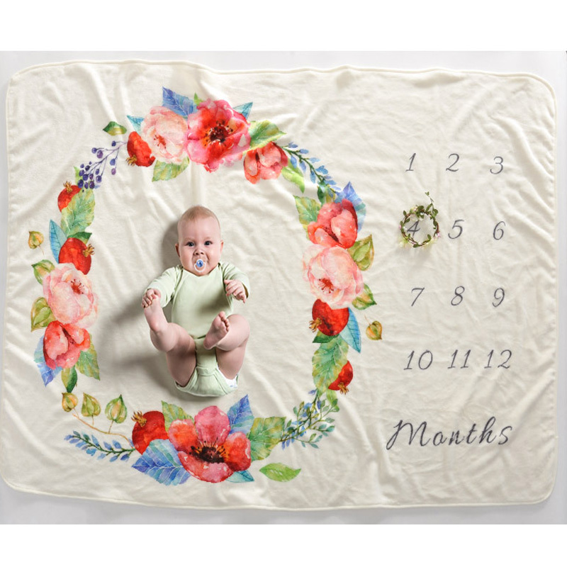 Newborn Photography Wrap Blankets 102*152cm DIY Photography Milestone Blanket Baby Props Printed Bigger Size