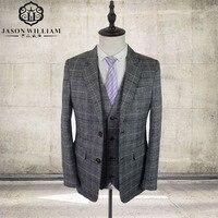 Grey Tweed Men Custom Made Mens 3 Piece Suit Tailor Made Slim Fit Suits For Men