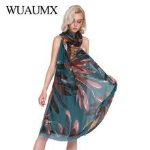Wuaumx New Design Elegant Women Shawls Cotton Linen Scarf Feather Print Head Scarfs Long Satin Autumn Winter Scarves For Female