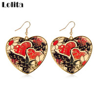 Art Earrings For Women 2016 New Fashion Gold Color Colored Enamel Heart Drop Dangle Party Jewelry