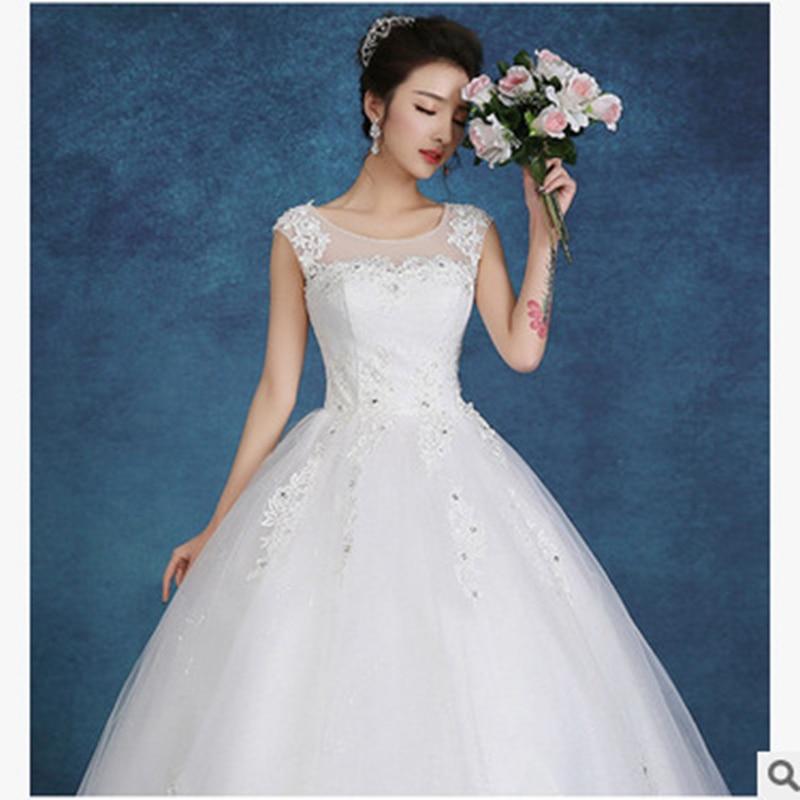 Real Photo Wedding Dress 2019 New Korean Version Shoulders Slim Lace Large Sizebride Wed Dress Elegant Vestido De Noiva