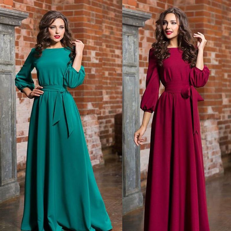 Elegant Long Sleeve Autumn Winter Evening Dresses Cheap A Line 4