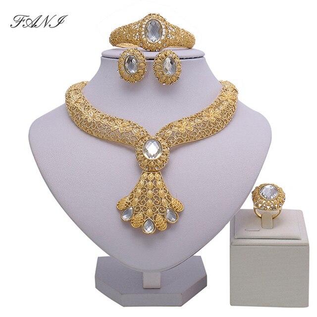 2018 מתנת כלה חתונה ניגרי תכשיטי חרוזים אפריקאים סט אישה מותג האופנה דובאי סט תכשיטים בצבע זהב עיצוב סיטונאי
