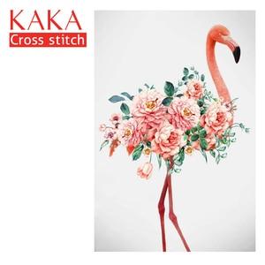 Image 1 - كاكا عبر عدة خياطة ، الزهور فلامنغو 5D ، التطريز التطريز مجموعات مع نمط المطبوعة ، 11 قماش ، ديكور المنزل اللوحة