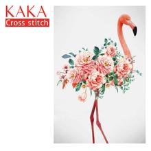 KAKA çapraz dikiş kitleri, 5D Flamingo çiçekler, nakış İğne setleri baskılı desen, 11CT canvas, ev dekor boyama