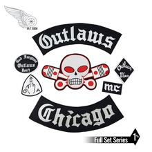Original Outlaw Chicago Forgives biker patch Embroidered Iron On Rider full set big Patch for clothing