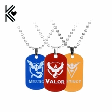 New Go Dog Tag Necklace Game Anime Metal Team Valor Mystic Instinct Logo Bead Chain for Women and Men fans
