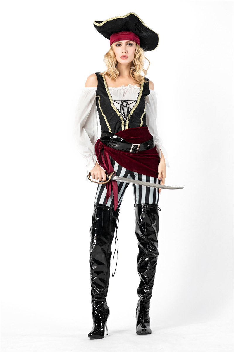 Halloween Party Pirates of the Caribbean Cosplay Costumes Women Adult Striped Pirate Uniforms Clothing Set
