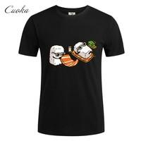 CUOKA 2017 Men Summer T Shirts Funny Sushi Design Golden PU Printed 100 Combed Cotton Customized