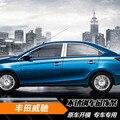 O envio gratuito de 304 de aço inoxidável janela do carro guarnição para toyota vios yaris sedan XP150 terceira geração 2013 2014 2015 2016