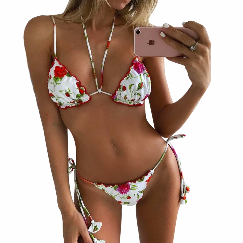 Sexy Bikini 2018 Hot Sell Floral Print Beach Swimwear Women Low Waist Halter BathingSuit Long Bandage Tassels Brazilian Swimsuit