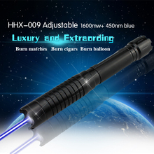 Buy USA  Freeshipping  Mid-adjustable Laser pointer  High power blue laser pointer  1000mw blue laser burning cigarsWith 5 laser cap