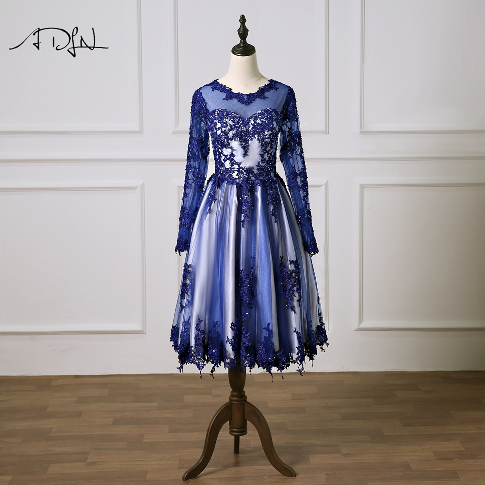 ADLN Royal Blue   Cocktail     Dress   with Long Sleeves Vestidos de Curto Scoop A-line Lace Special Occasion Gown