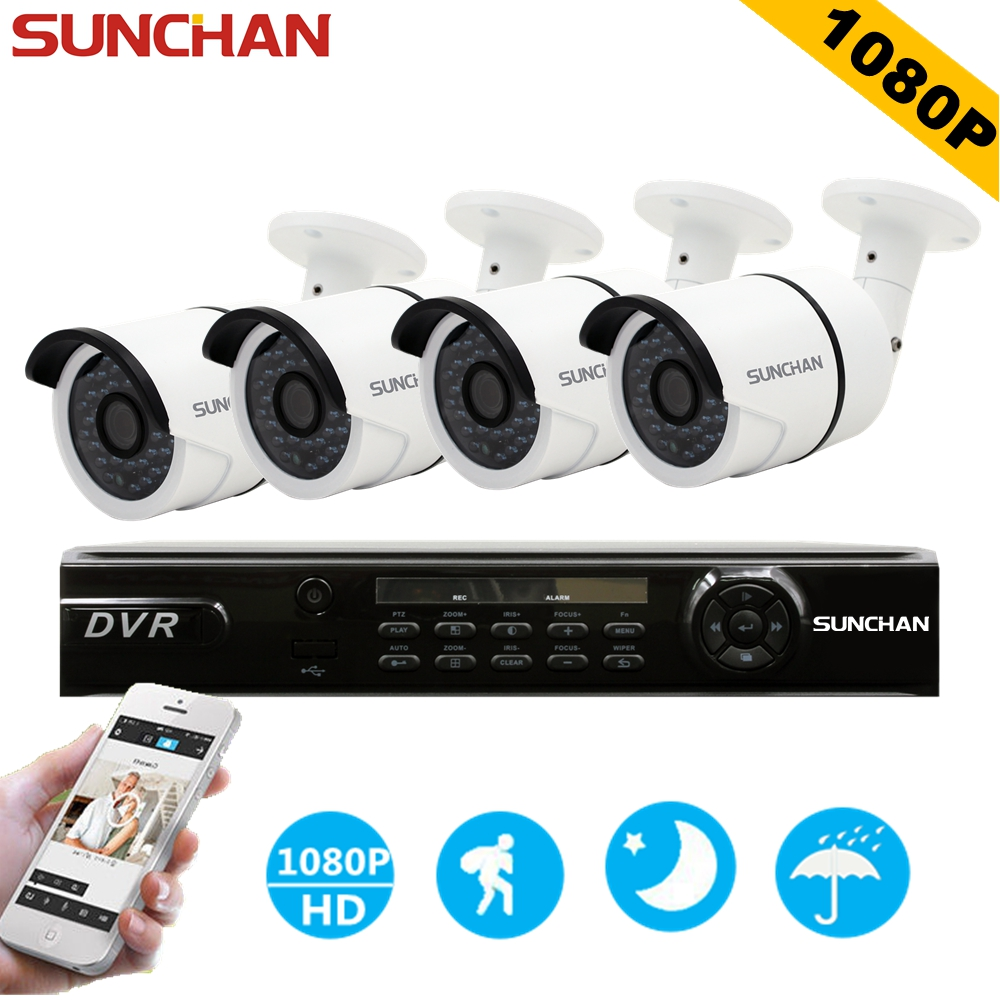 SUNCHAN Full HD AHD-H 4CH 1080P 2.0MP DVR Kits Security Cameras System Sony CCD Outdoor Waterproof CCTV Home Surveillance System sannce hd 4ch cctv system hdmi ahd dvr kit 720p outdoor security waterproof night vision surveillance kits with 4 cameras 1tb