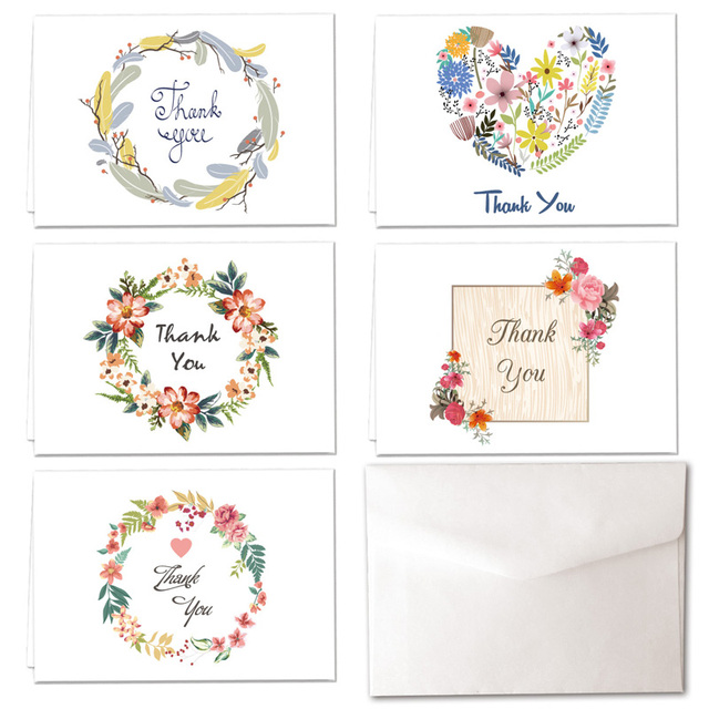 Thank You Cards 5 Wreath Designs for Lucky Love valentine Christmas