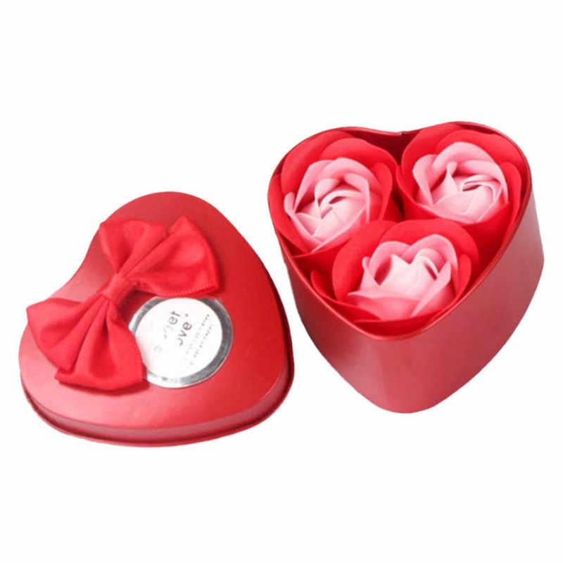 1 תיבת מתכת 3 יחידות לב ריחני סבון עלה כותרת של ורד פרחי אמבט גוף מתנת קישוט החתונה פרחוני רחצה מקלחת סבון אספקת