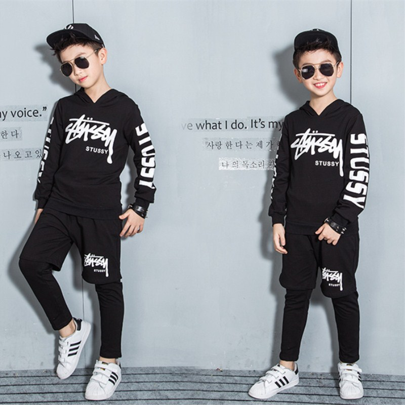 Fashion Boys Clothing Sets Streetwear Hip Hop 2Pcs Kids Children Clothing Sets Toddler Baby Boys Clothes Cotton Kids Clothing