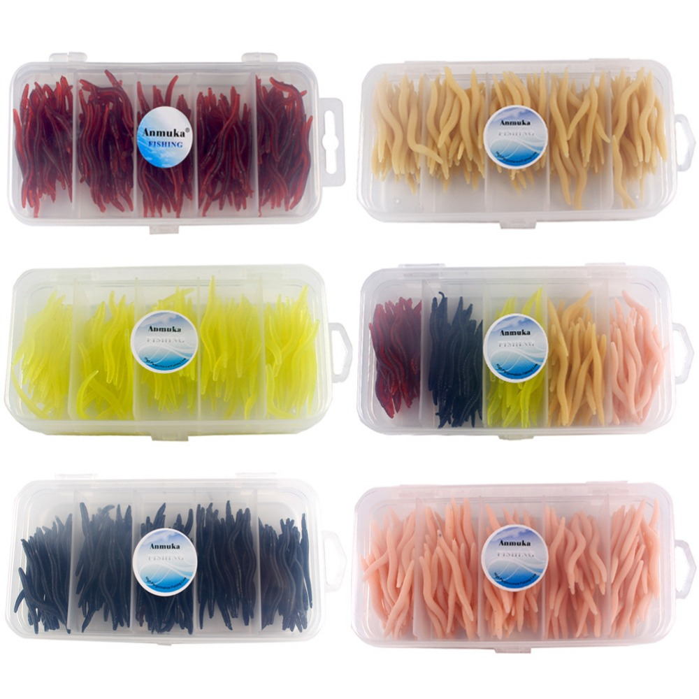 150PCS 5 Colors 4cm Fishing Lure Soft Baits Artificial Worm Hand Pole Baits Earthworm Carp Pesca Perch Fishing Maggot Decoy Set in Fishing Lures from Sports Entertainment