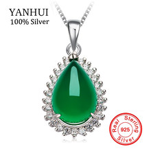 YANHUI Pure Natural Green Malay Stone Pendant Necklace 925 Sterling Silver Women Necklace Fashion Pendant jewelry D276(China)