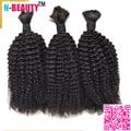 8A Mongolian Afro Kinky Curly Bulk Human Hair For Braiding 3Pcs/Lot Braiding Hair Bulk Mongolian Virgin Bulk Hair Extensions