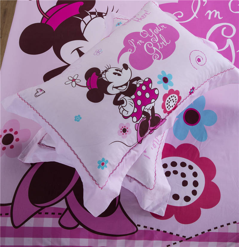 Mignon Rose Disney Minnie Mouse Cartoon Imprime Ensemble De Literie