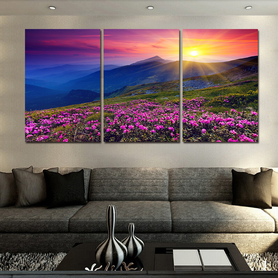 New Hot 3 Units Unframed Sunset And Mountain Wall Modern