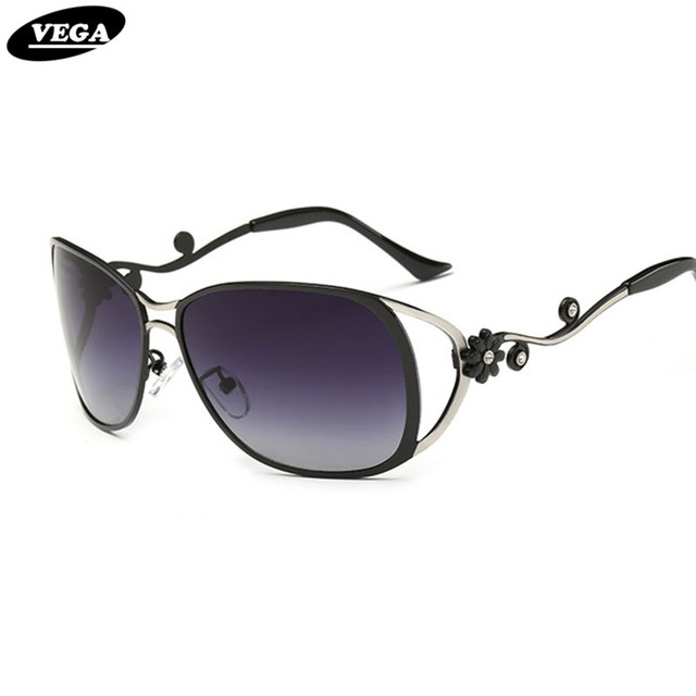 cc1b1c19de9 VEGA Ladies Polarized Rhinestone Sunglasses Flowers Nice Oval Transition  Sunglasses Women Unique Glasses Temples Design 312