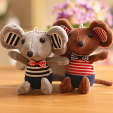 16CM Creative Bow Tie Mouse Plush Toy Key Chain Bag Small Pendant Cute Scarf Striped Sweet Children Girl Gift