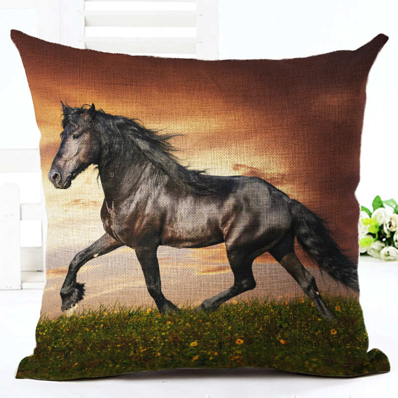 Pillow Case Colorful Running Horse Cotton Linen Pillowcase 18X18 Inches Bedroom Office Throw Decorative Pillows