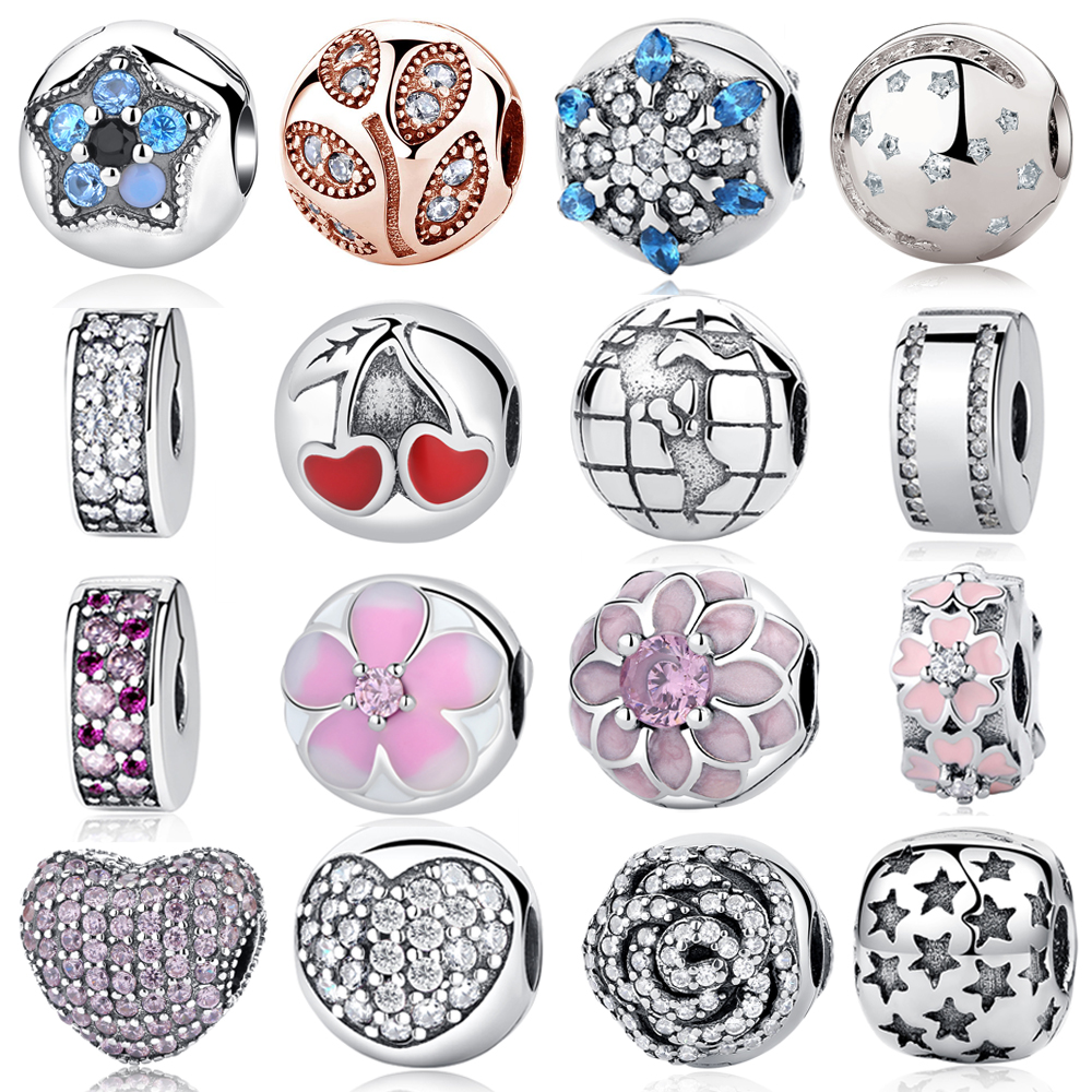 Authentic 100% 925 Sterling Silver Bead Charm Daisy Clip Safety Stopper Beads Fit Original Pandora Bracelet & Bangle Necklace