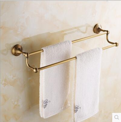 ФОТО European retro luxury antique full copper double towel bar hanging towel bar double rack bathroom towel rack free shipping
