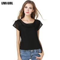 Sexy See Through Perspective Plus Size Women Top Short Butterfly Sleeve Chiffon Blouse Shirt Slim Fit  Blusa Feminina 1202