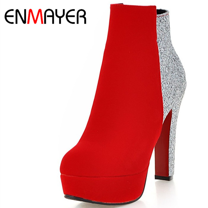 ENMAYER Zippers Sexy High Heels Round Toe Platform Winter Boots Shoes Woman 3 Colors Red Ankle Boots for Women Motorcycle Boots enmayer bling gladiator zippers round