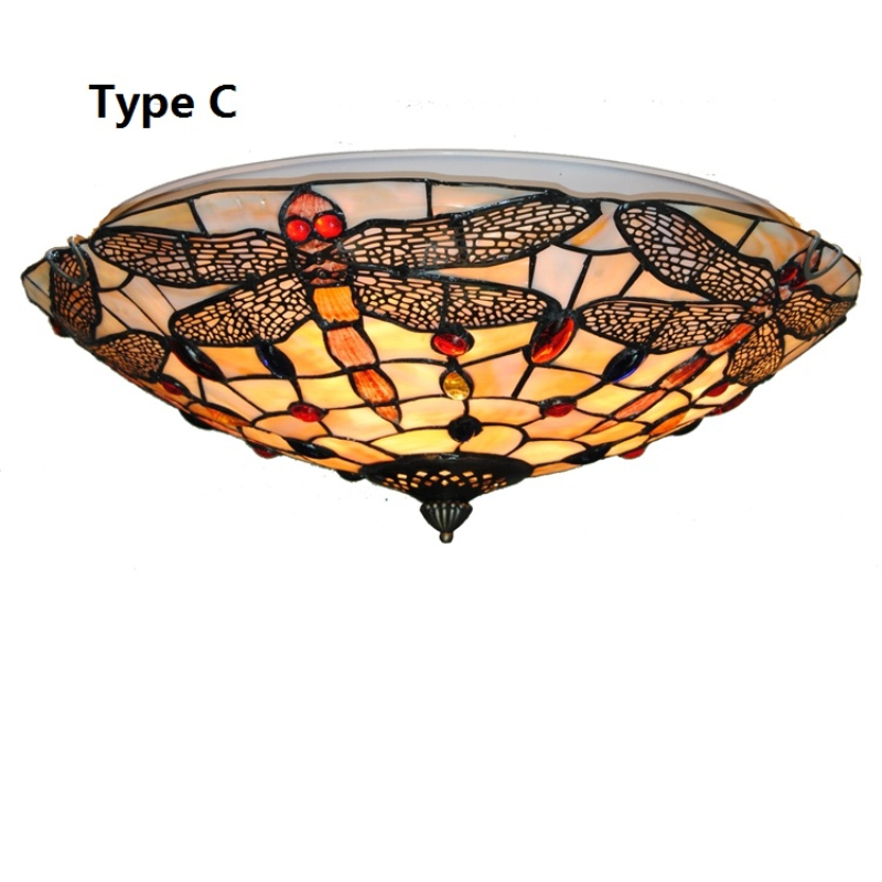Vintage Stained Glass Ceiling Light Tiffany Style Dragonfly Hanging Lamp For Bedroom Ceiling Lamp Shell Plafonnier Mediterranean
