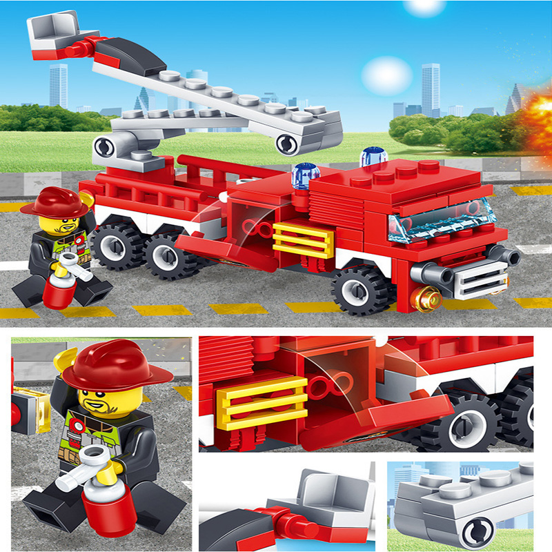 KAZI-80512-City-Fire-Fighting-Car-Helicopter-Boat-Building-Blocks-LegoINGlys-Fire-Fighter-Bricks-Lepin-Technic (5) -