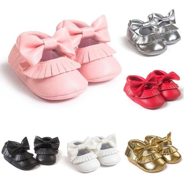 Giày em bé 2019 Mới Cô Gái Chàng Trai Mary Jane Toddler Shoes Giày Mềm Sole Moccasin Sơ Sinh Trẻ Sơ Sinh PU da Slip-on đi Bộ đầu tiên 0-18 m