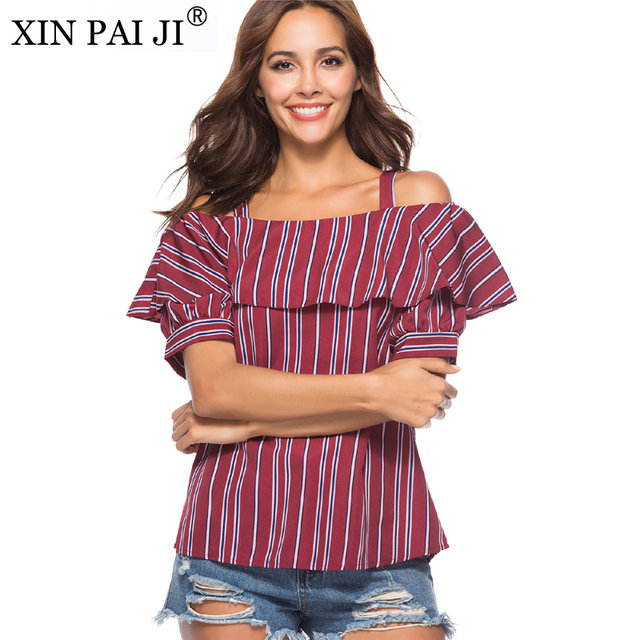 f1e41bb6a27540 Red Black Striped Shirt Slash neck off shoulder Blouse Women Short Sleeve  Casual Tops Summer Ladies Blouse