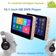 Android 5.1 Reposacabezas Monitor de 10.1 Pulgadas HD Quad Core (4 Núcleos) coches Reproductor de DVD WIFI Con Bluetooth Wireless-Un Par