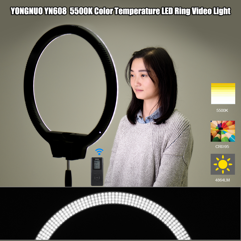 YONGNUO YN608 5500K LED Studio Ring Video Light Wireless Remote Adjustable Brightness Video Light CRI>95 with Remote Controller