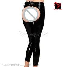 Sexy Black Latex Leggings spanking Open chaps Rubber pants lace back leg Gummi Trousers butt Less Long bottom XXL