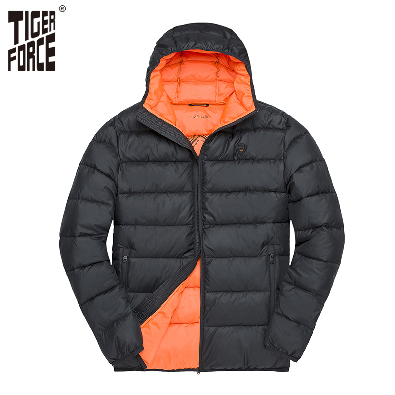 TIGER FORCE 2018 Fashion Winter Jacket Men Warm Coat Hooded Casual   Parka   Men Thickening Padded Cotton Coat Solid Color