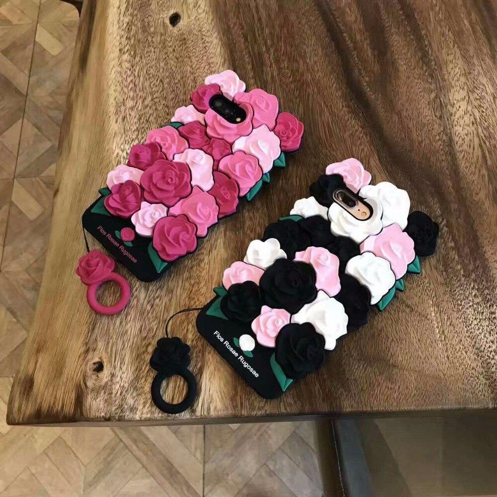 ZMASI Instagram 3D Romantic Rose Silicone Case for iPhone