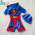 swimwear baby boys 90-115cm Superman blue red baby swimsuit one pieces hats baby bathing suits for boys infant toddler swim wear